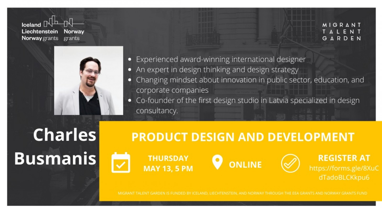 Lecture on product design and development will be held on thursday may 13th. | Patvērums Drošā Māja